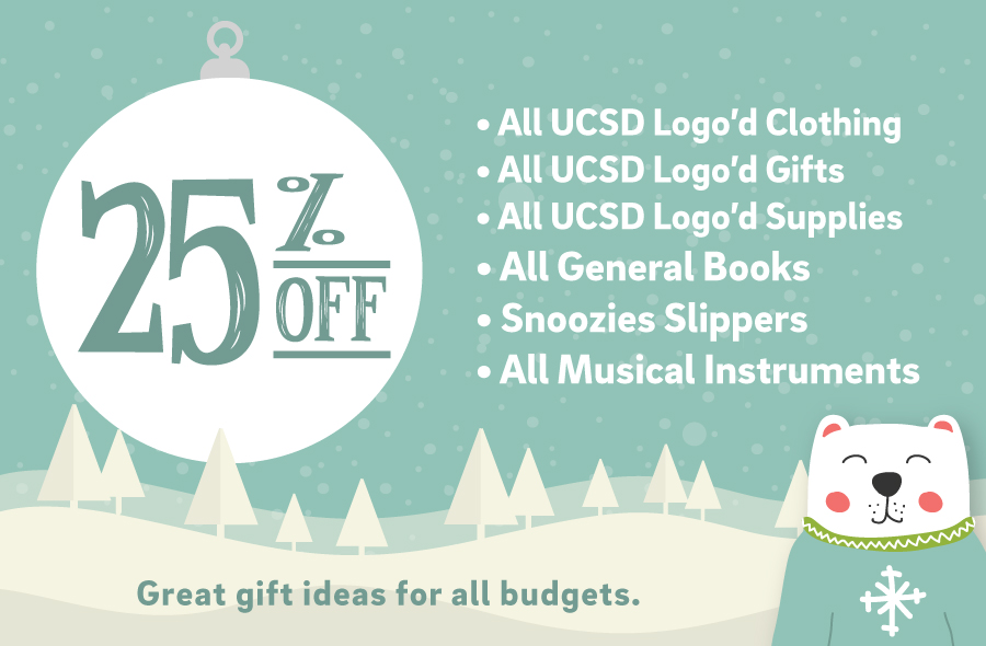 25% off everything with a UCSD Logo