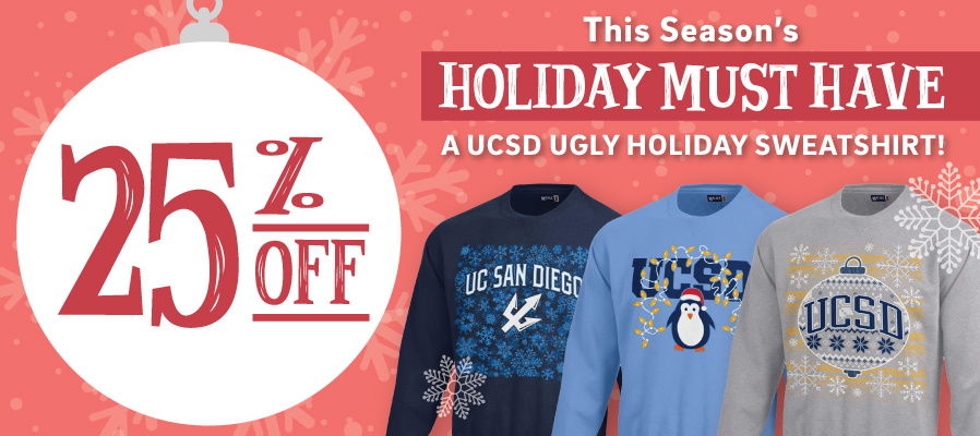 25% off UCSD Ugly Holiday Sweaters