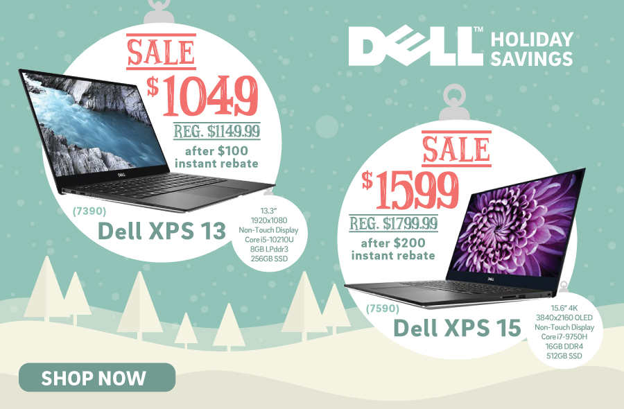 Dell XPS 13 (7390) for $1,049 and Dell XPS 15 (7590) for $1,599